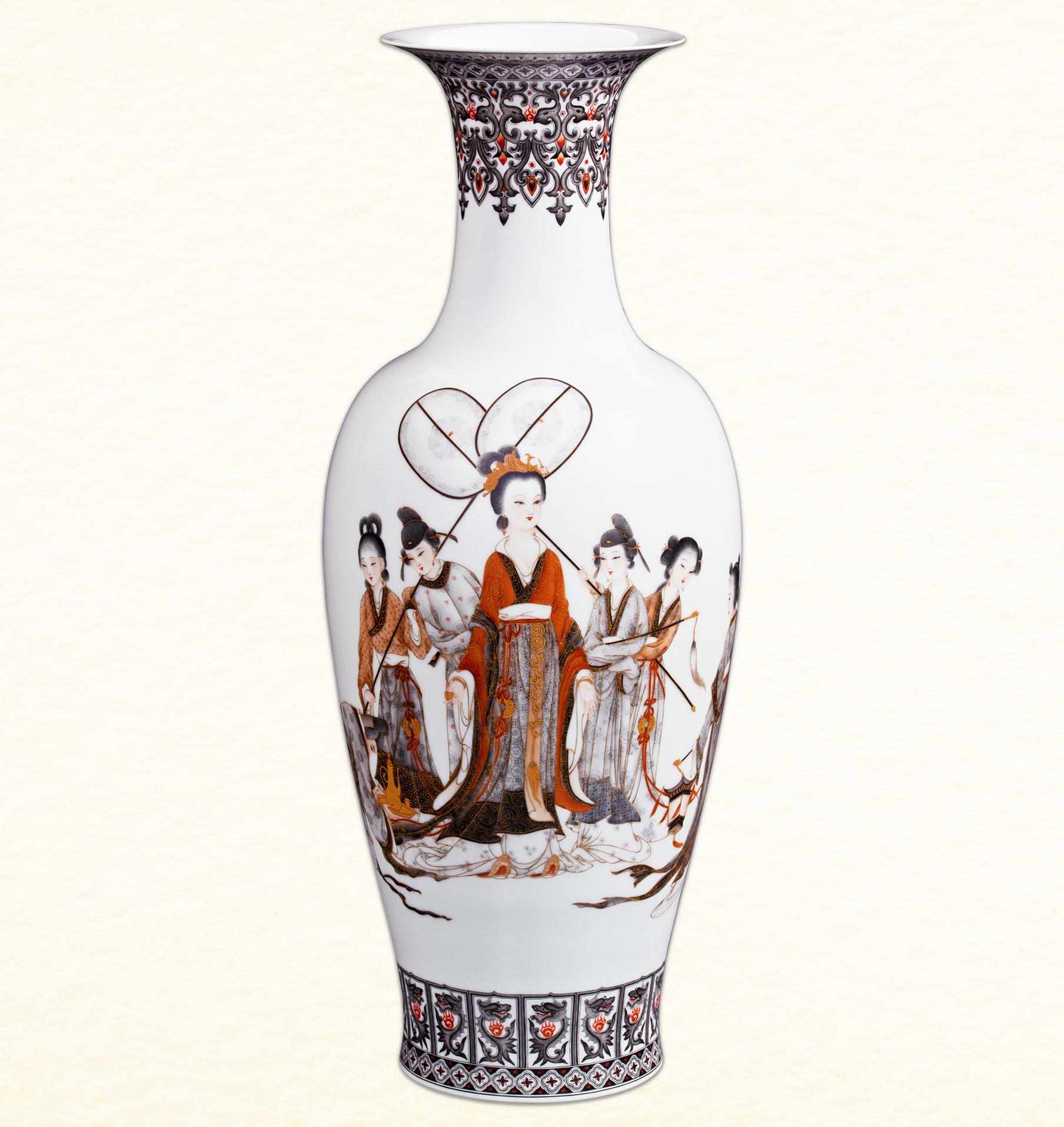 《贵妃出阁》墨彩描金瓷瓶/夏忠勇 - 综合装饰 - 陶瓷