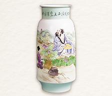 《爱莲图》粉彩装饰瓷瓶