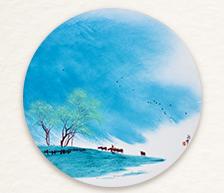 《春风又绿江南岸》粉彩圆瓷板