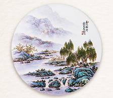 《春风柳岸》粉彩装饰圆瓷板