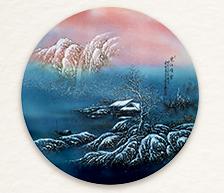 《寒江晴雪》粉彩圆瓷板