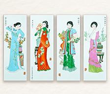 《四季平安喜图》古彩装饰瓷板四条屏