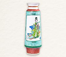 《四大才女》古彩装饰对瓶