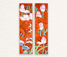 《映日别样红》综合装饰瓷板