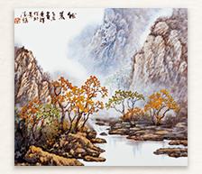 《秋晨》粉彩装饰瓷板/张景辉