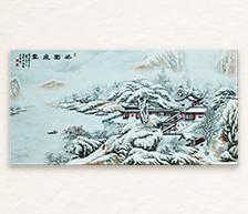 《梁园飞雪》墨彩装饰瓷板