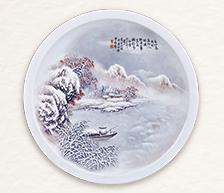 《寒江独钓》粉彩装饰瓷盘