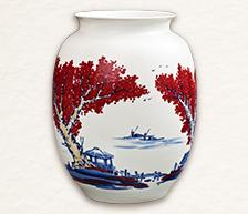 《笑看江海红运来》青花釉里红装饰瓷瓶