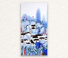 《春暖花开》青花颜色釉综合装饰瓷板