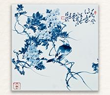 《春风得意》系列之二青花装饰瓷板