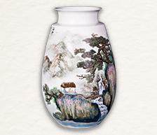 《白云山青万余里》颜色釉综合装饰瓷瓶