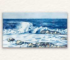 《海浪》青花颜色釉综合装饰瓷板画
