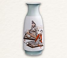 《太白求诗》墨彩描金瓷瓶