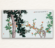《三友图》古彩装饰瓷板