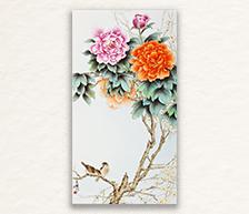 《迎春牡丹》粉彩装饰瓷板