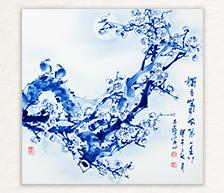 《独立春风第一香》青花装饰瓷板