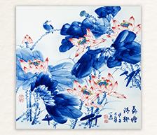 《荷塘清趣》青花装饰瓷板