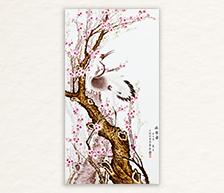 《依偎图》系列之一粉彩装饰瓷板