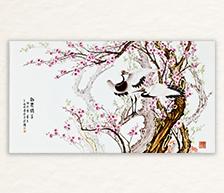 《梅妻鹤子》粉彩装饰瓷板